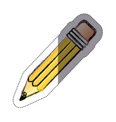 Sticker color sketch with yellow pencil with vector