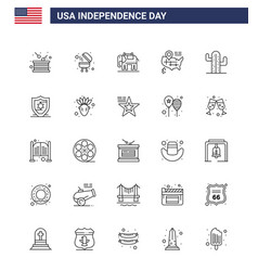 Stock icon pack american day 25 line signs and vector