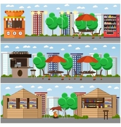 Street food festival concept banners vector image