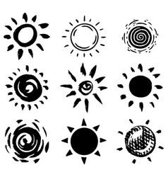 Sun set brush strokes rays collection on white vector