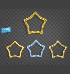 thin gold stars isolated on gray background set vector image