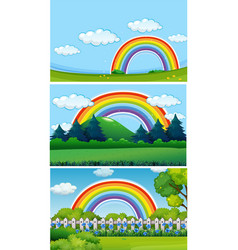 Three park scenes with rainbow vector