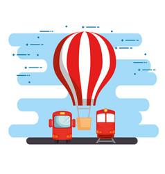 Transport logistic set vehicles vector