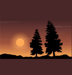 Tree on the hill scenery silhouettes vector