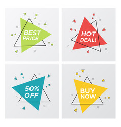 triangle flat sale tags in bright pop art style vector image