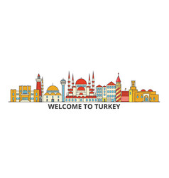 Turkey outline skyline turkish flat thin line vector