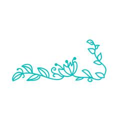 Turquoise monoline scandinavian folk flourish vector