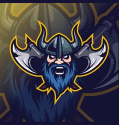 vikingt mascot logo esport vector image