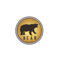 vintage bear badge emblem logo design inspiration vector image
