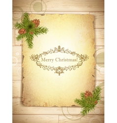 vintage grunge paper with christmas greetings in vector image