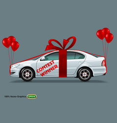 white car with red bow and balloons isolated on a vector image