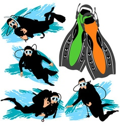 scuba diving silhouettes set vector image
