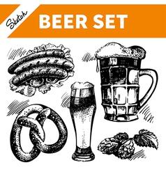 Sketch Oktoberfest set of beer vector image