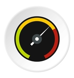 Speedometer with colored stripes icon flat style vector
