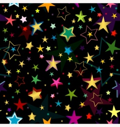 black seamless pattern with stars vector image