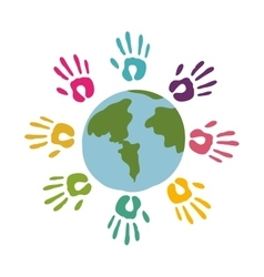 colored hands around of world vector image