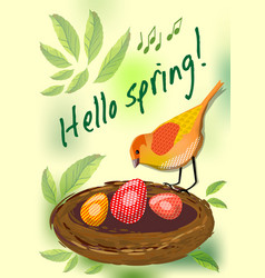 hello spring cute card with colorful bird by nest vector image