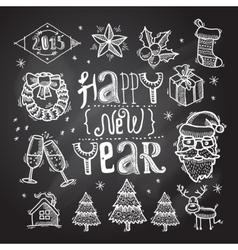 Christmas icons set chalkboard vector image vector image