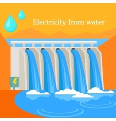 Electricity from water design flat vector