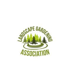 green tree landscape gardening icon vector image