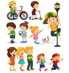 kids doing different activities vector image vector image