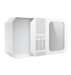 Light Realistic Package Cardboard Box with a vector image