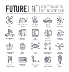 Premium quality future thin line ollection set vector image