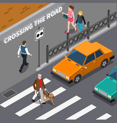 blind person on crosswalk isometric vector image vector image