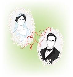 bride and groom vector image