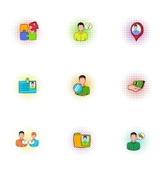 Business icons set pop-art style vector image vector image