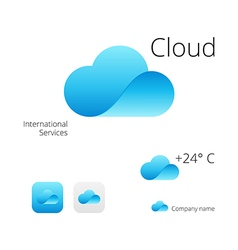 Cloud Stylish Logo Icon and Button Concept Set vector image vector image