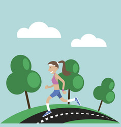 girl jogging nature vector image