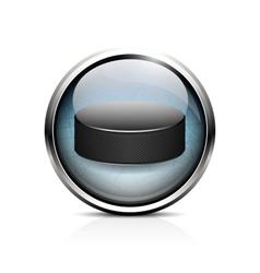 hockey puck icon vector image vector image