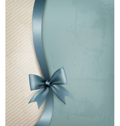 Holiday background with old paper and gift bow and vector image vector image