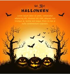 Oran halloween background with pumpkins full moon vector image vector image