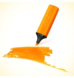 Orange marker with drawn spot vector image