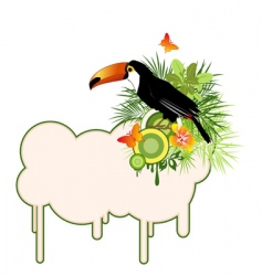 tropical bird and palms vector image vector image