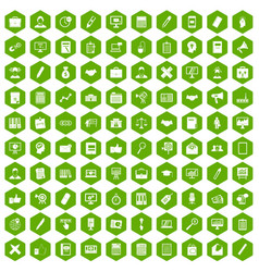 100 finance icons hexagon green vector