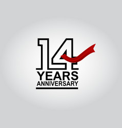 14 years anniversary logotype with black outline vector
