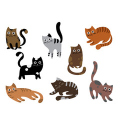 a set cats a collection cartoon kittens of vector image