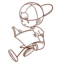 A young boy reading vector image