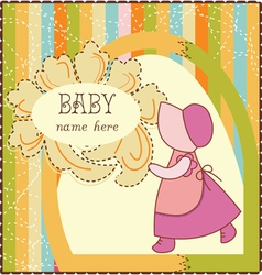 Baby Girl Invitation Card vector image
