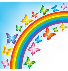 Background with butterfly and rainbow vector
