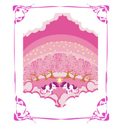 Beautiful unicorn card vector