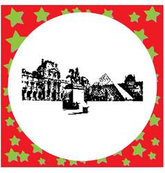 black 8-bit louvre museum with pyramid paris vector image