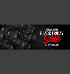 black friday sale dark banner with balloons vector image