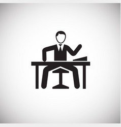 boss on work place on white background vector image