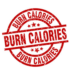 Burn calories round red grunge stamp vector