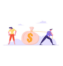 Businessman pulling huge sack with dollars vector
