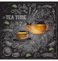 Card with cup pot herb and text Tea Time vector